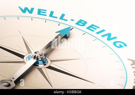 Kompass mit Nadel zeigt das Wort Wohlbefinden. 3D Illustration mit Unschärfe-Effekt. Konzept des Wohlbefindens Stockbild