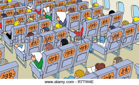 Menschen auf dem Flugzeug alle Zahlstellen unterschiedliche Tarife für Sitze Stockbild