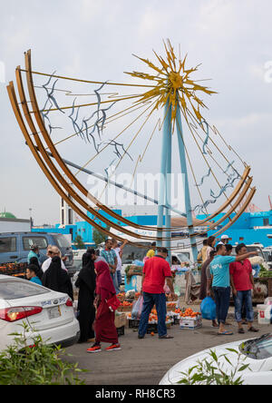 Obst Markt außerhalb der Fischmarkt, Mekka Provinz, Jeddah, Saudi-Arabien Stockbild