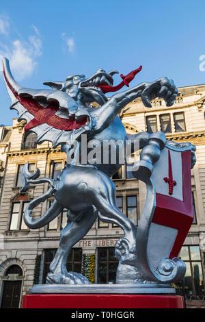 England, London, London, Drachen Statue ostindischen Mark bewacht den Eingang zur Stadt London Stockbild