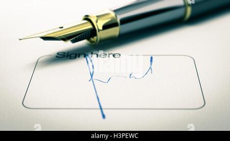 3D Abbildung einer Unterschrift auf einem Dokument mit goldenen Füllfederhalter. Konzept der Zustimmung oder Stockbild