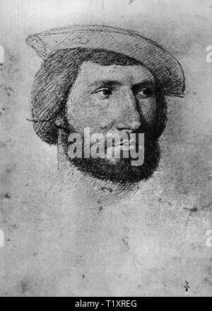 """Bildende Kunst, Jean Clouet (1480-1541), Zeichnung,'Homme inconnu"""" (unbekannter Mann), 16. Jahrhundert, Musée Condé, Chantilly, Additional-Rights - Clearance-Info - Not-Available Stockbild"""