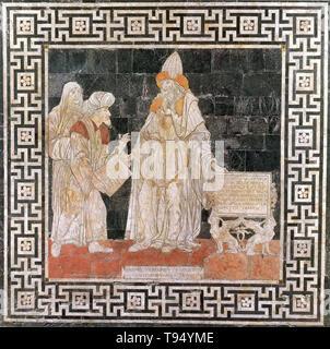 Mosaikfußboden inlay in der Kathedrale von Siena von Hermes Mercurius Trismegistus. Hermes Trismegistos ist der angebliche Autor des Hermetischen Korpus, eine Reihe der heiligen Texte, die die Grundlage der Hermetik. Er kann eine Darstellung der Union der griechischen Gott Hermes und dem ägyptischen Gott Thoth, Götter des Schreibens und der Magie. Als göttlichen Quelle der Weisheit, Hermes Trismegistus war mit Zehntausenden von Schriften von hoch stehende gutgeschrieben. Stockbild