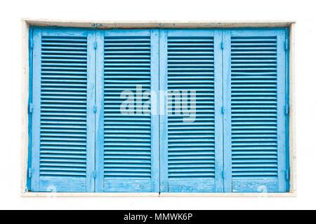 Leuca, Apulien, Italien - ein traditionelles Blue geschlossenen Lamellen Fenster Stockbild