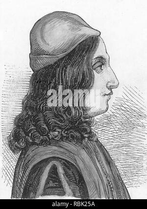 GIOVANNI Pico della Mirandola (1463-1494), italienische Renaissance Philosoph Stockbild