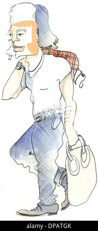 Ein Aquarell von einem Mann trägt eine Mütze und hält eine Tasche Stockbild