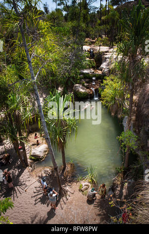 Oase im Isalo Nationalpark, ihorombe Region, im Südwesten von Madagaskar, Afrika Stockbild