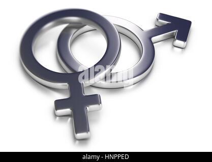 3D Darstellung von Frau und Mann Symbole auf weißem Hintergrund. Stockbild
