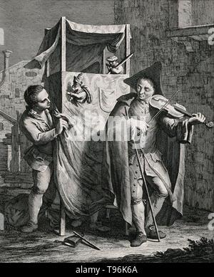 Ein junger Mann spielt eine Violine vor einem Punch und Judy stehen, während ein Puppenspieler, der in der Regel unter dem Stand von Häuten, die Marionette manipuliert. Die Hut- und Füße des zweiten Puppenspieler gesehen werden kann, der sich hinter dem Vorhang. Kupferstich von Giovanni Volpato nach Francesco Maggiotto, c. Ende des 18. Jahrhunderts. Stockbild