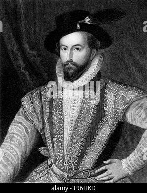 Walter Raleigh (1554 - Oktober 29,1618) war ein englischer Aristokrat, Schriftsteller, Dichter, Soldat, Höfling, Spion und Explorer. Er ist vor allem für die Popularisierung des Tabaks in England erinnert. Sein Plan 1584 für die Ansiedlung in Nordamerika endete im Versagen auf Roanoke Island, aber den Weg für die spätere Kolonien. Stockbild