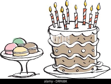 Macarons und einen Geburtstagskuchen Stockbild