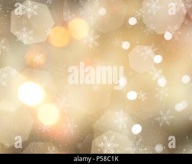 Gold Weihnachten Hintergrund mit Schneeflocken, Sterne und Bokeh leuchtet Stockbild