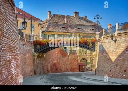 Iron Bridge, die Lügenbrücke, Sibiu, Siebenbürgen, Rumänien Stockbild