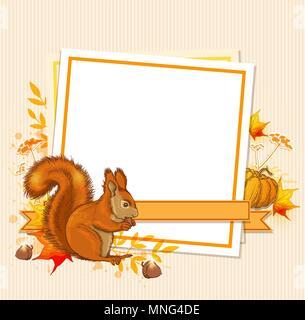 Herbst Hintergrund mit Kürbis, Eichhörnchen und leeres Blatt Papier Stockbild