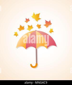 Herbst Hintergrund mit Regenschirm und orange Ahornblätter. Vector Illustration. Stockbild