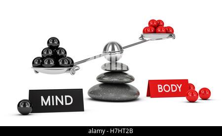 3D Illustration einer Wippe mit Kugeln und zwei Teile Körper und Geist, horizontales Bild. Wellness-Konzept Stockbild