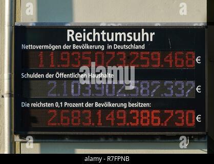 Reichtumsuhr für Deutschland, Nettovermoegen, oeffentliche Haushalte Schulden, Reichtum, Armut, Berlin, Deutschland, Stockbild