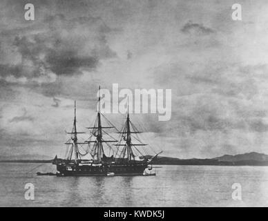 USS Fregatte Colorado in den Fluss Han, Korea, während die koreanischen Expedition von Mai-Juni 1871. Es war Stockbild