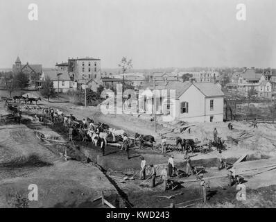Tuskegee Institut Studenten graben die Grundlagen für Collis S. Huntington Memorial Building, 1902. Während Stockbild