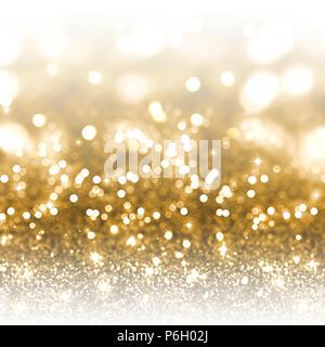 Weihnachten Hintergrund gold Glitter und Bokeh Lichter Stockbild