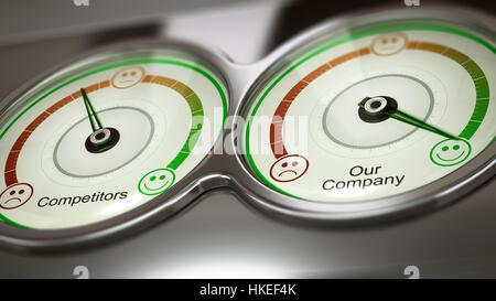 Konzeptionelle 3D Darstellung der beiden Spurweiten mit Text Konkurrenten und unserem Unternehmen zur Leistungsmessung, Stockbild