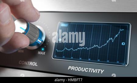 Hand Sie den CONTROL-Knopf, um die maximale Produktivität zu erhöhen, Konzept für das Produktionsmanagement Stockbild