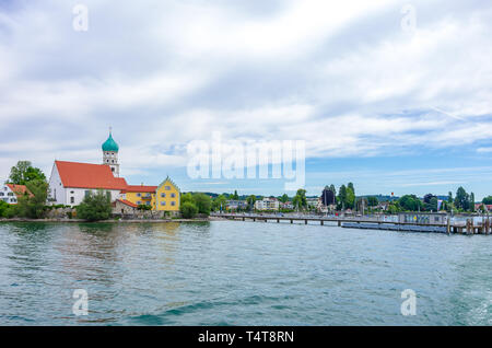 Die seepromenade von Wasserburg am Bodensee, Bayern, Deutschland, Europa. Stockbild