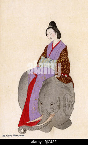 Reproduktion von einem Gemälde auf einem Japanischen hängenden Blättern von Maruyama Okyo (1733-1795), zeigt eine Frau sitzt auf einem Elefanten ist zurück. Stockbild