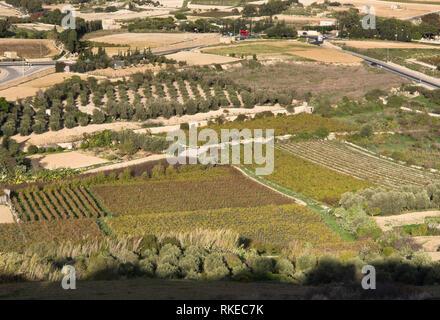 Ansicht von oben auf die umliegende Landschaft und die Felder von den Stadtmauern von Mdina Malta Stockbild
