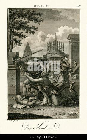 """Naher Osten, Palästinensische Gebiete, West Bank, Bethlehem"""", Der Mord der unschuldigen Kinder"""", bestellt von Herodes dem Großen, Kupferstich von Carl Schuler, um 1790, aus einem Buch aus dem 18. Jahrhundert. , Artist's Urheberrecht nicht gelöscht werden Stockbild"""