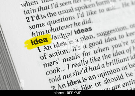 """Englische Wort """"Idee"""" und seiner Definition im Wörterbuch hervorgehoben. Stockbild"""