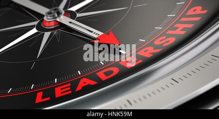 3D-Darstellung eines Kompass mit Nadel nach dem Wort Führung über schwarzen Hintergrund. Konzept der Überlegenheit. Stockbild