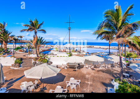 Puerto de la Cruz, Teneriffa, Kanarische Inseln, Spanien: Schön Salzwasserpools Lago Martianez Stockbild