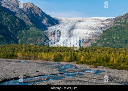 Exit Glacier, Kenai Fjords National Park, Alaska, Vereinigte Staaten von Amerika, Nordamerika Stockbild