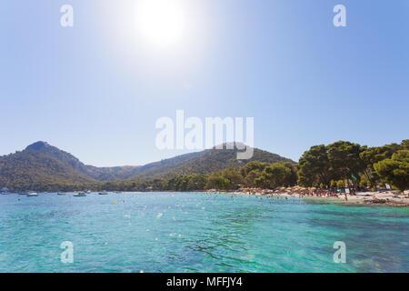 Platja de Formentor, Mallorca, Spanien - Himmlische Atmosphäre an der verträumten Strand von Platja de Formentor Stockbild