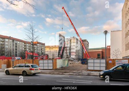 Gebäude werden abgerissen auf Wilhelmstraße. Berlin, Deutschland. Stockbild