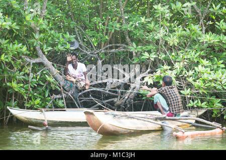 Madu Ganga, Balapitiya, Sri Lanka - Dezember 2015 - Zwei Fischer in der mangrooves während einer Pause, Asien Stockbild