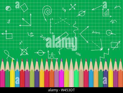 Satz von Buntstiften auf dem Hintergrund einer Schule Blackboard mit Grafiken und Formeln.. Abbildung für die Gestaltung und Dekoration des Kinder- und Stockbild