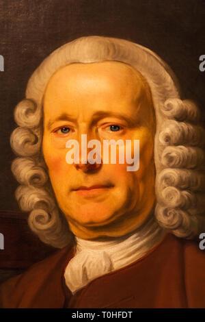England, London, Greenwich, Royal Observatory, Flamsteed House, Portrait von John Harrison (1693-1776) von Thomas König datiert 1765 Stockbild