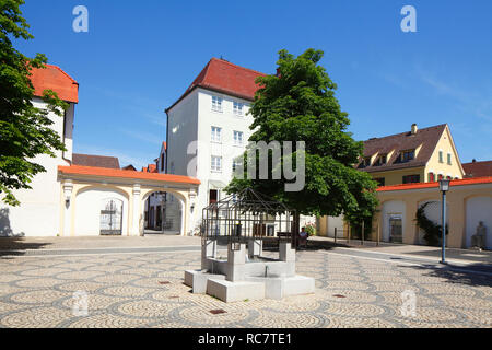 Mayor-Landmann-Platz, Günzburg, Schwaben, Bayern, Deutschland, Europa ich Bürgermeister-Landmann-Platz, Günzburg, Schwaben, Bayern, Deutschland, Europa I Stockbild