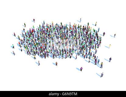 Große Gruppe von Menschen bilden eine Rede Blase Symbol - 3D-Illustration Stockbild