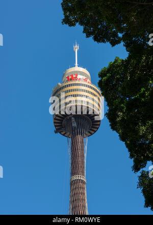 Der Sydney Tower vor blauem Himmel. Stockbild