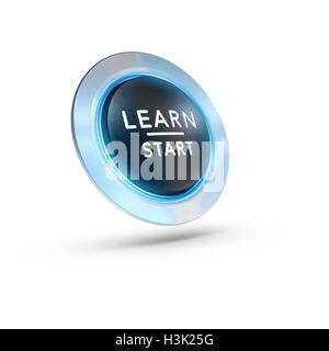 3D Abbildung einer Schaltfläche mit dem Text lernen Start auf weißem Hintergrund. Konzept-Bild Stockbild