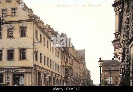 Gebäude in Freiberg (Sachsen), Geschäfte in Sachsen, 1906, Landkreis Mittelsachsen Obermarkt, Freiberg, bin, Deutschland Stockbild