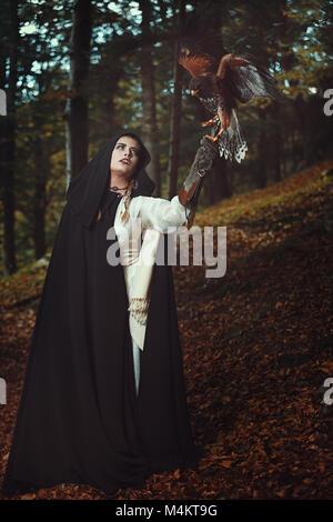 Meister der Falken. Fantasy und Magie Stockbild