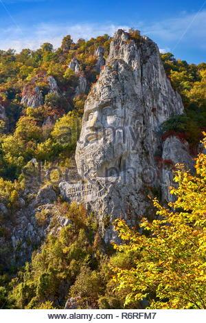 König Decebal Statue, Orsova, Eisen Tore Naturpark, Rumänien Stockbild