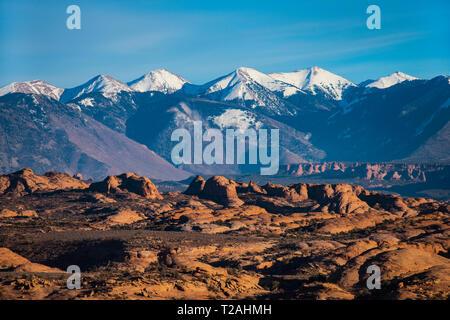 Aussicht auf die SCHNEEBEDECKTEN La Sal Mountains und versteinerte Dünen, Arches NP, UT, USA Stockbild