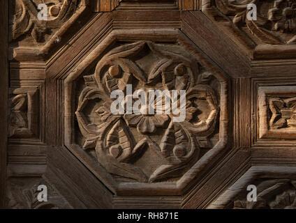 Kaki Haus geschnitzten Holz detail, Mekka Provinz, Taïf, Saudi-Arabien Stockbild