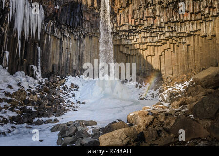 Svartifoss Wasserfall, Vatnajökull National Park, Island Stockbild