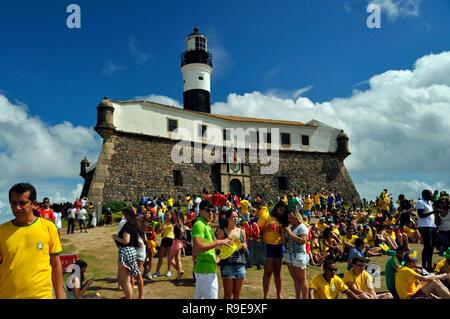 Fifa WM 2014, Public Viewing, Barra, Salvador da Bahia, Brasilien Stockbild